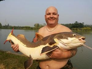 Fishing Redtail Catfish in Thailand