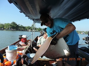 Quiet day stingray fishing at Maeklong River