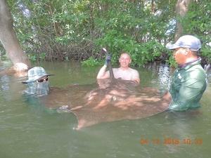 Thailand stingray fishing Samut Songkran