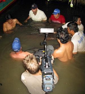 Giant freshwater stingray haul fishing Maeklong River Thailand