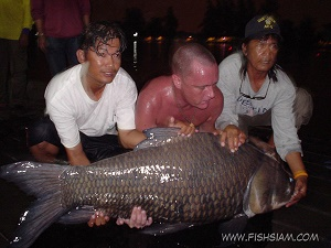 60 kg Giant Siamese Carp Caught in Thailand at Bungsamran Lake