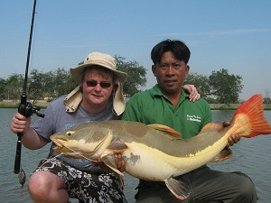 Arapaima Fishing Palm Tree Lagoon Thailand