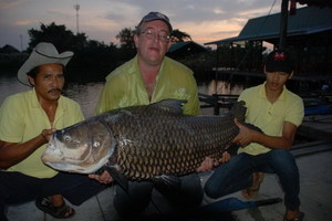 Big 50kg Giant Carp caught fishing Now Nam in Thailand