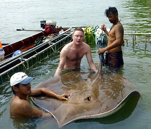 Freshwater stingray fishing Thailand