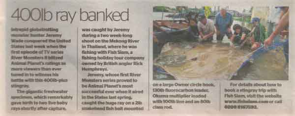 angling times giant freshwater stingray jeremy wade